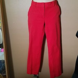 Red Stretchy Straight Fit Pants size 6